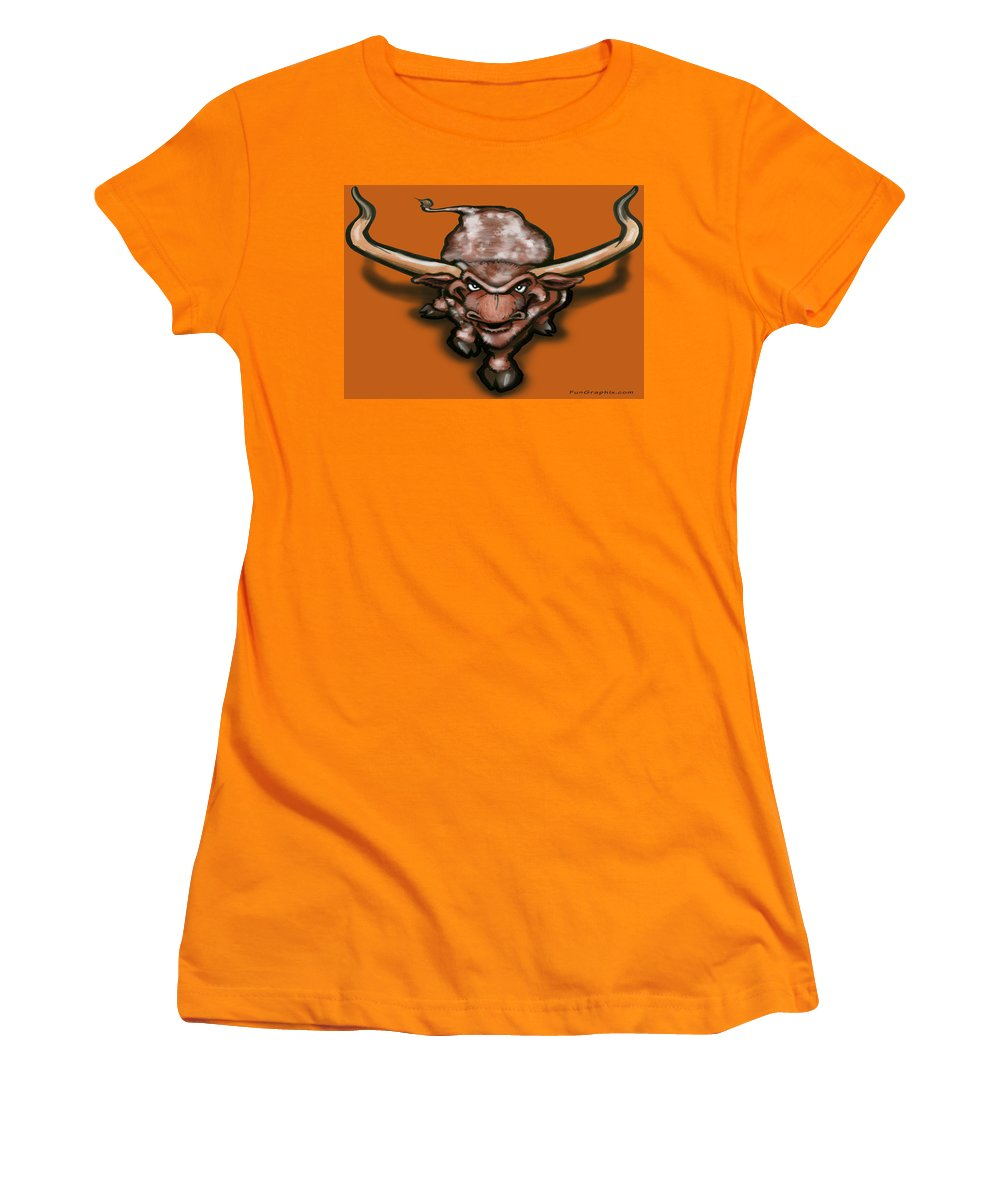 Longhorn Women's T-Shirt (Athletic Fit) featuring the greeting card Longhorn by Kevin Middleton