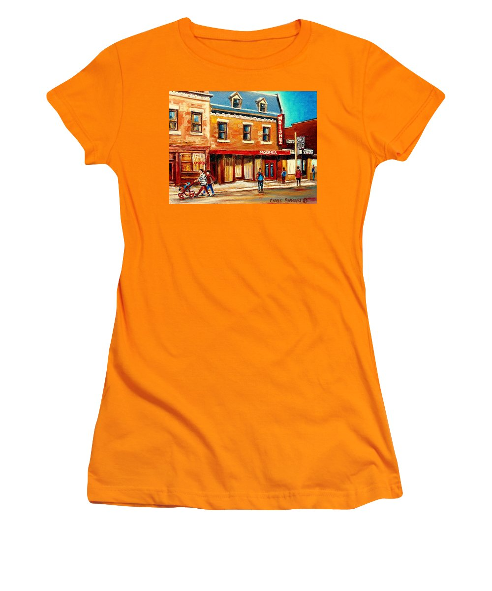 Moishes Steakhouse Women's T-Shirt (Athletic Fit) featuring the painting Moishes The Place For Steaks by Carole Spandau