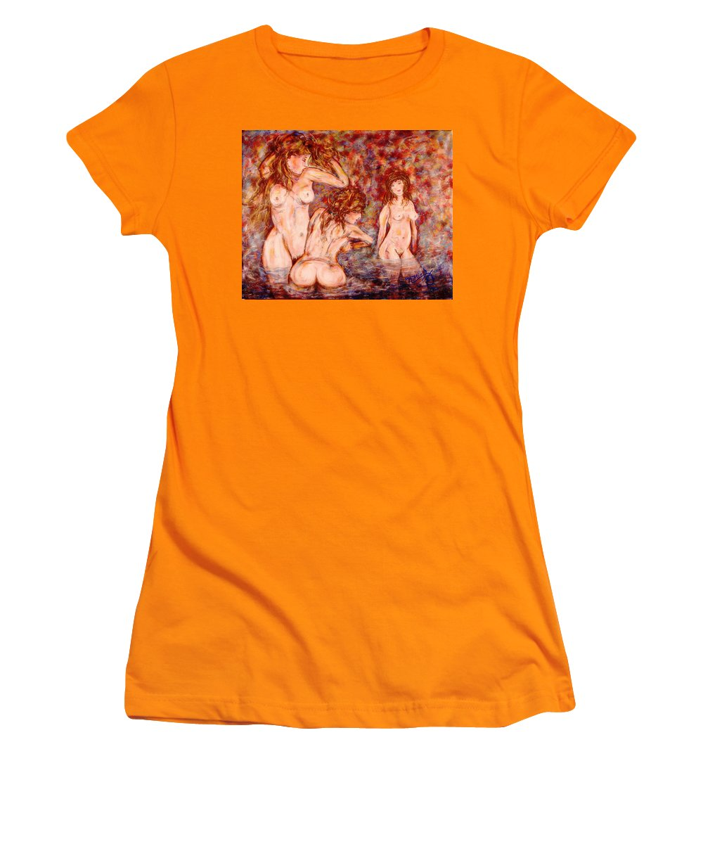 Nudes Women's T-Shirt (Athletic Fit) featuring the painting Morning Bath by Natalie Holland