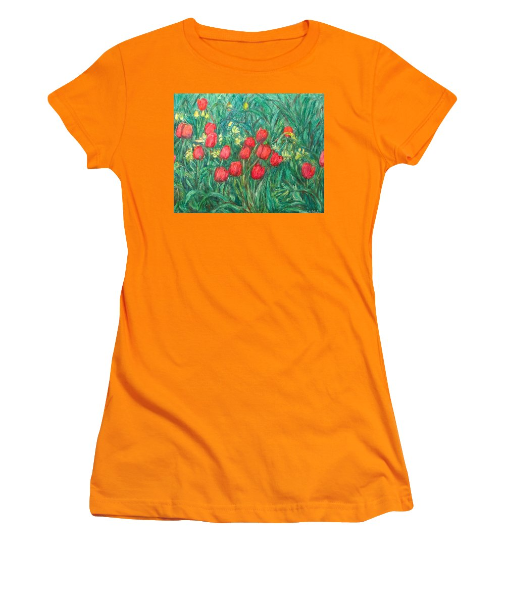Kendall Kessler Women's T-Shirt (Athletic Fit) featuring the painting Mostly Tulips by Kendall Kessler
