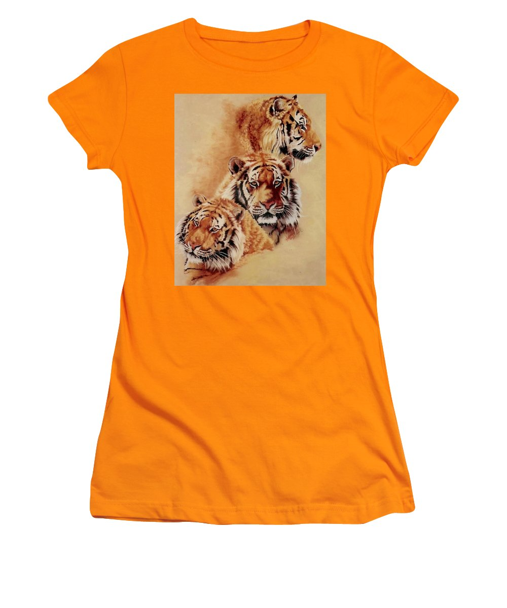 Tiger Women's T-Shirt (Athletic Fit) featuring the pastel Nanook by Barbara Keith