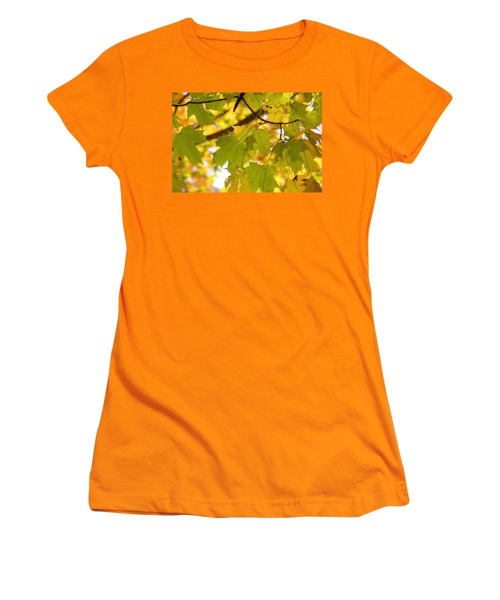 Leaves Women's T-Shirt (Athletic Fit) featuring the photograph Natures Glow by Ed Smith