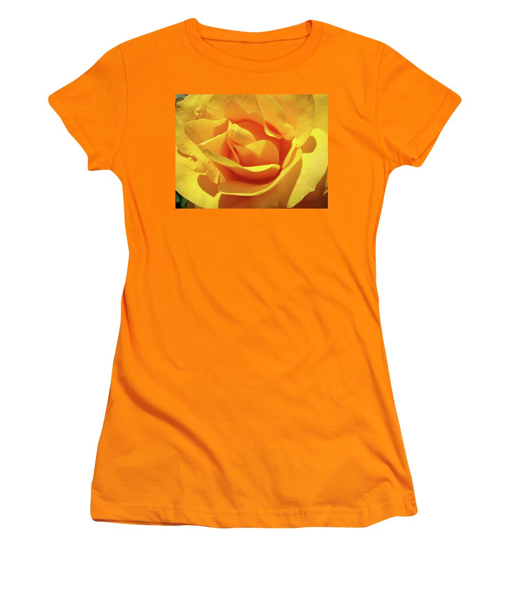 Rose Women's T-Shirt (Athletic Fit) featuring the photograph Office Art Prints Roses Orange Yellow Rose Flower 1 Giclee Prints Baslee Troutman by Baslee Troutman