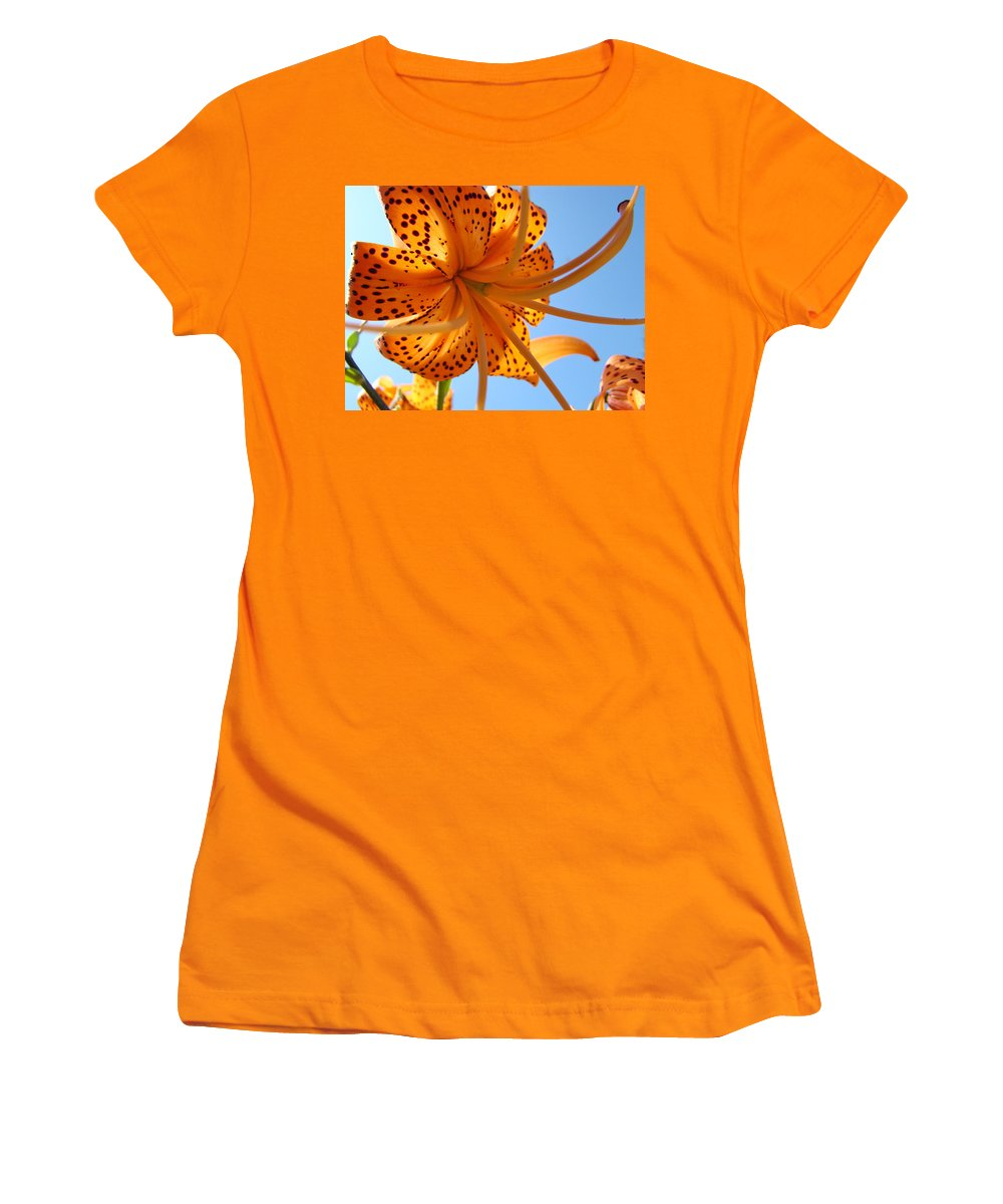 Lilies Women's T-Shirt (Athletic Fit) featuring the photograph Office Artwork Tiger Lily Flowers Art Prints Baslee Troutman by Baslee Troutman