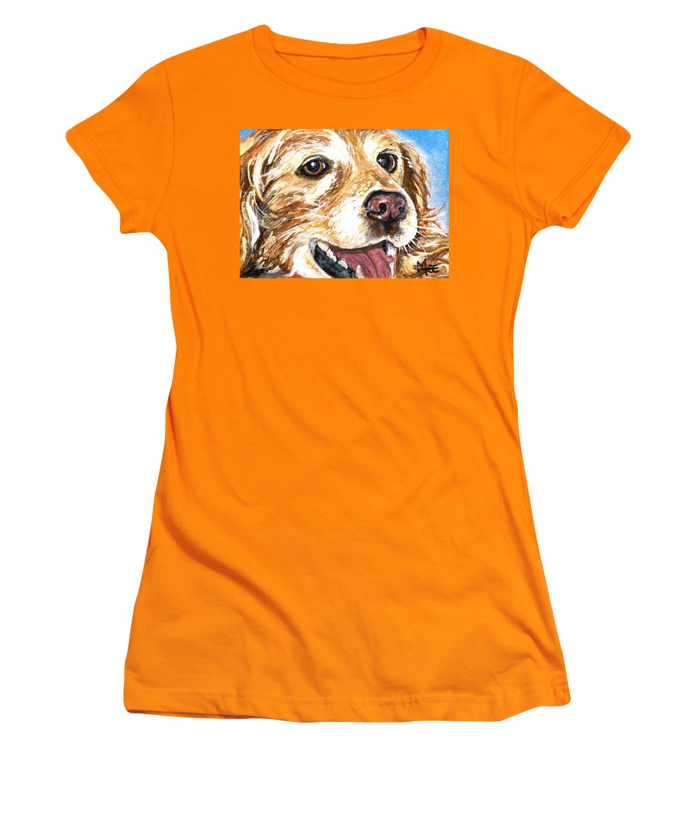 Charity Women's T-Shirt (Athletic Fit) featuring the painting Oliver From Muttville by Mary-Lee Sanders