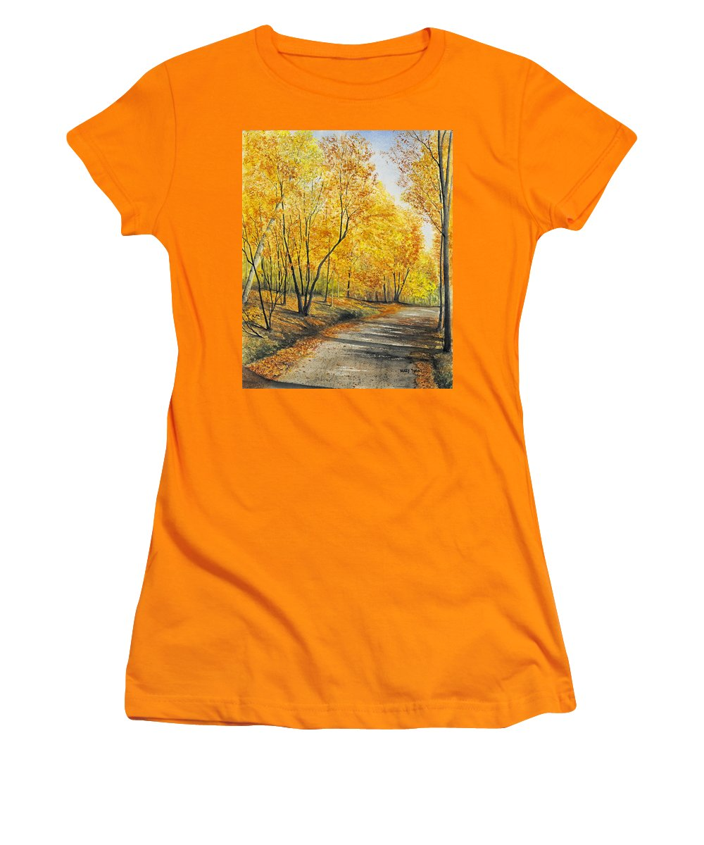 Autumn Women's T-Shirt (Athletic Fit) featuring the painting On Golden Road by Mary Tuomi
