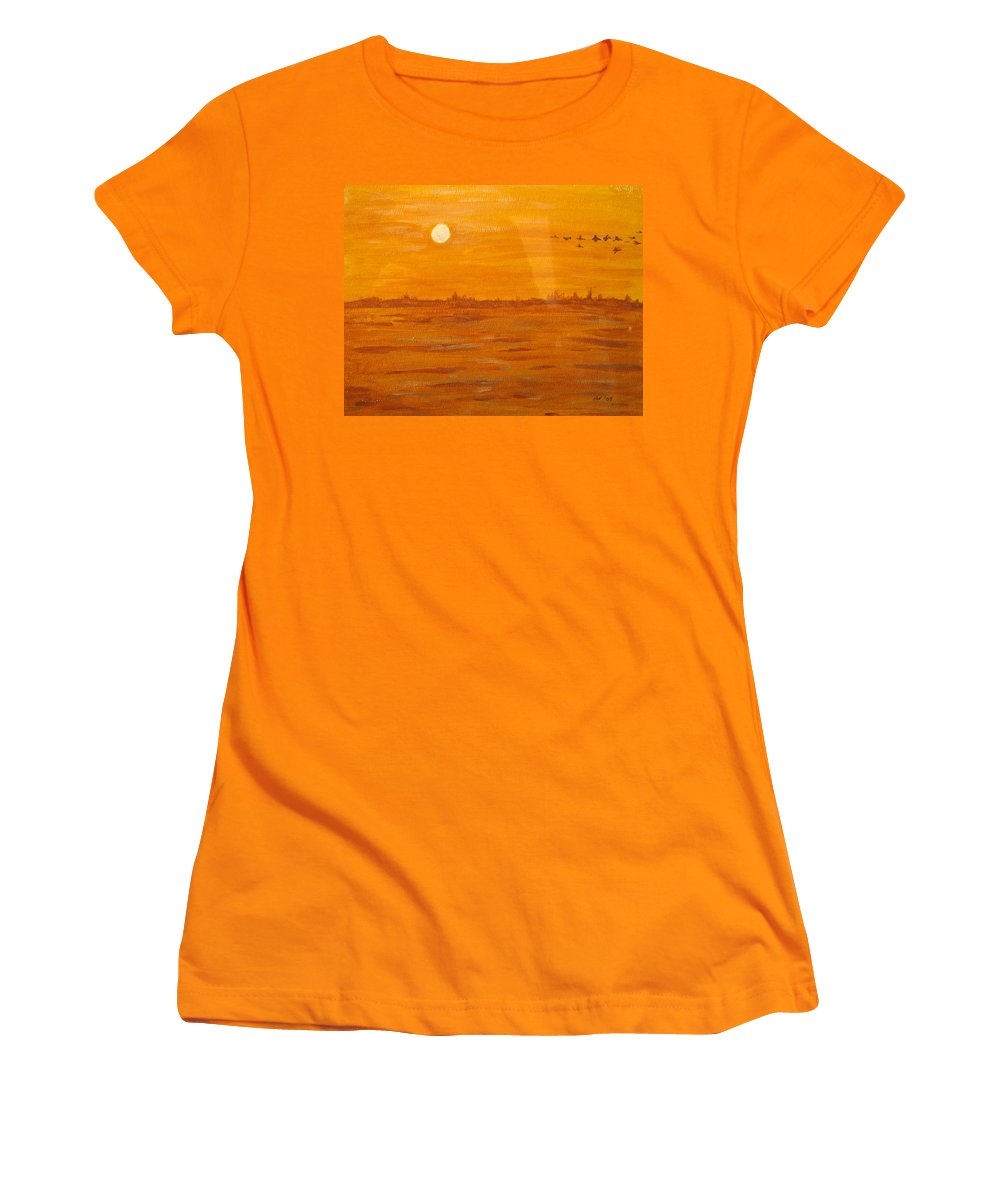 Orange Women's T-Shirt (Athletic Fit) featuring the painting Orange Ocean by Ian MacDonald