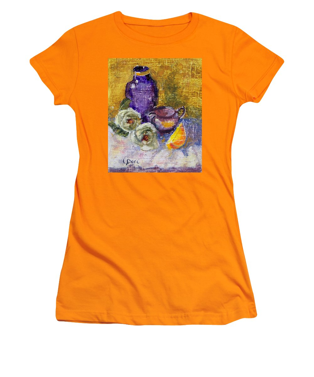 Vase Women's T-Shirt (Athletic Fit) featuring the painting Orange Reflection by Laurie Paci