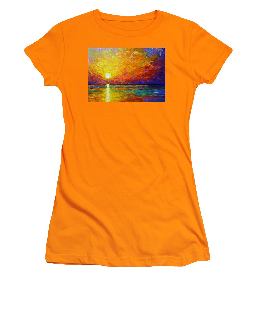 Landscape Women's T-Shirt (Athletic Fit) featuring the painting Orange Sunset by Ericka Herazo
