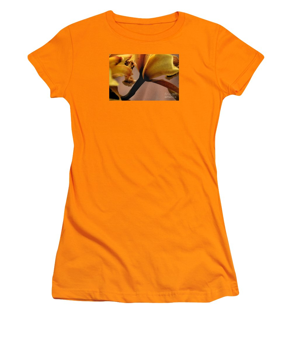 Orchid Women's T-Shirt (Athletic Fit) featuring the photograph Orchid Yellow by Michael Ziegler