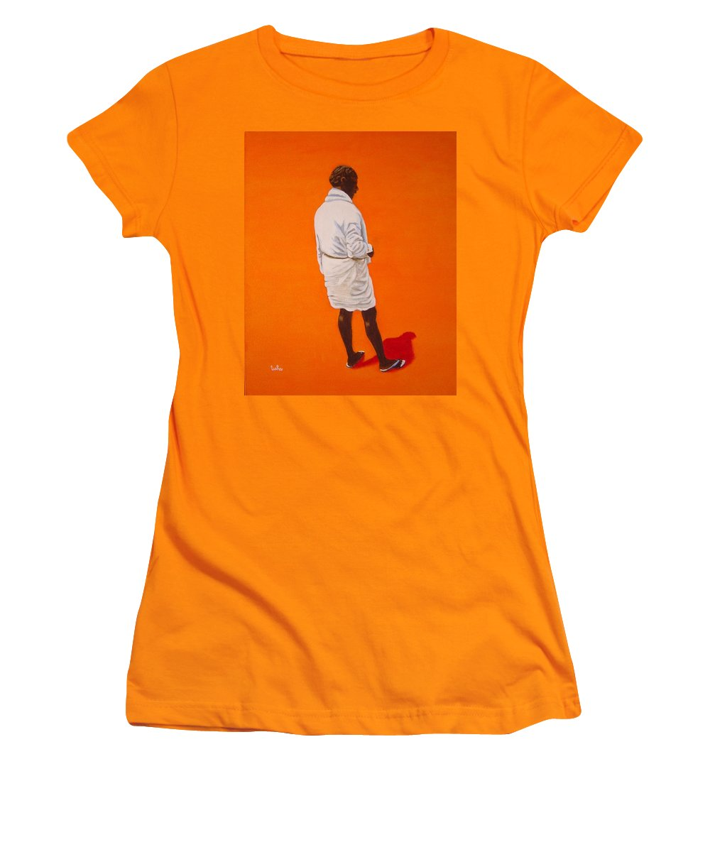 Lungi Women's T-Shirt (Athletic Fit) featuring the painting Panche by Usha Shantharam