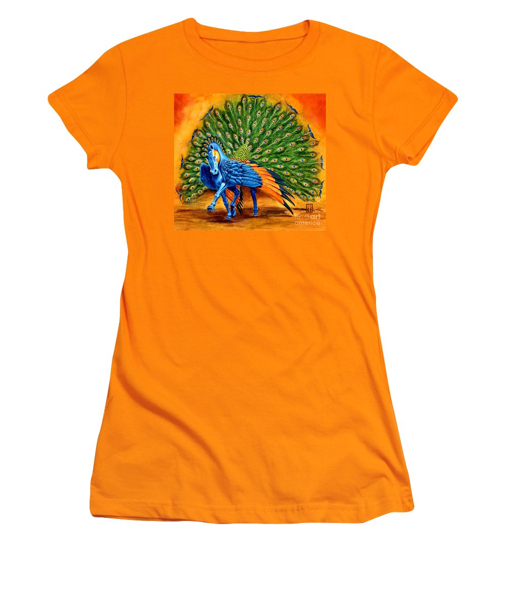 Horse Women's T-Shirt (Athletic Fit) featuring the painting Peacock Pegasus by Melissa A Benson