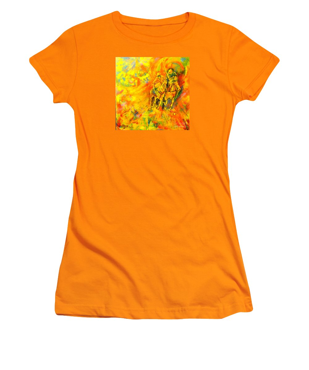 Horses Women's T-Shirt (Athletic Fit) featuring the painting Poloplayer by Dagmar Helbig