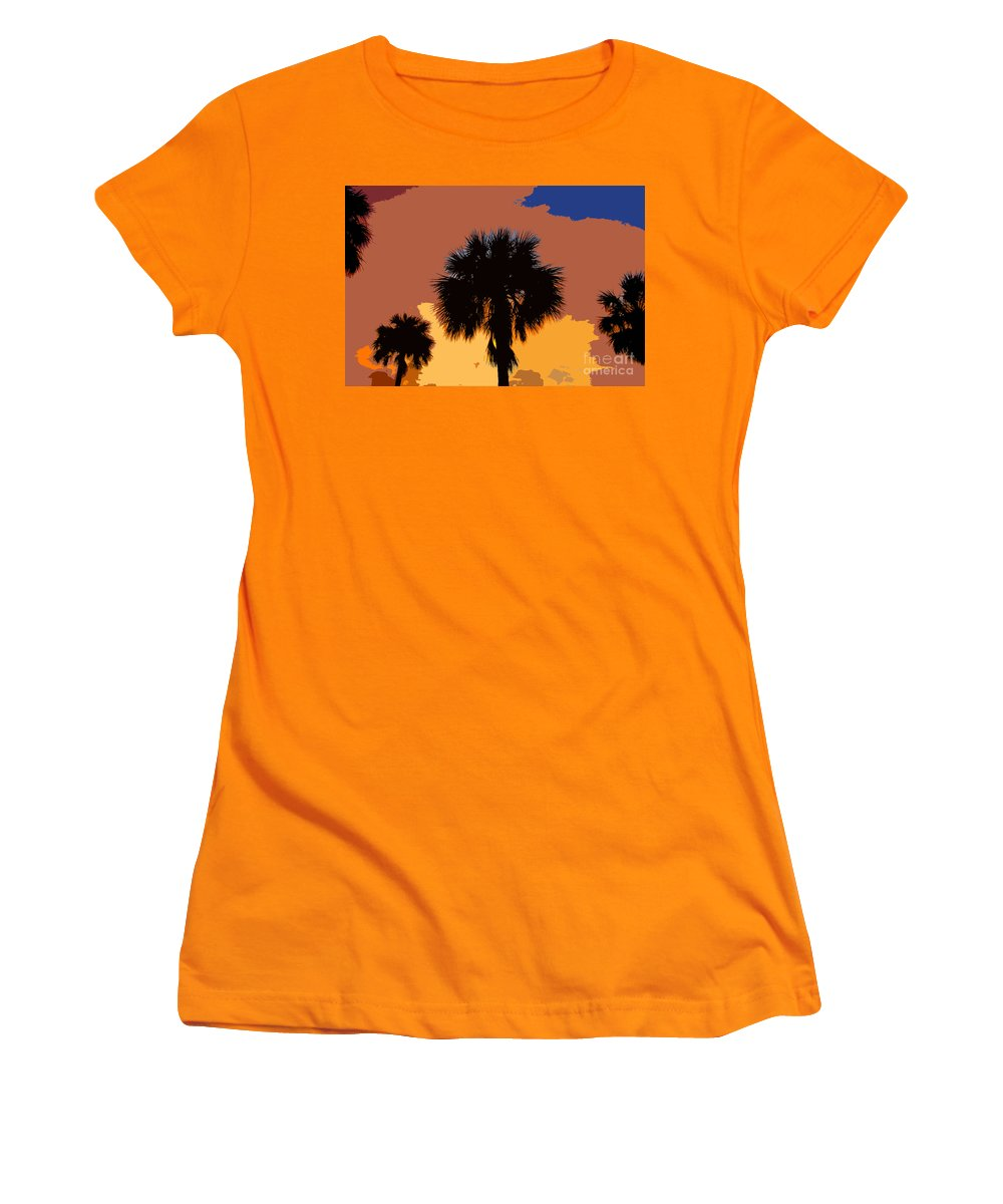 Palm Trees Women's T-Shirt (Athletic Fit) featuring the photograph Pop Palms by David Lee Thompson
