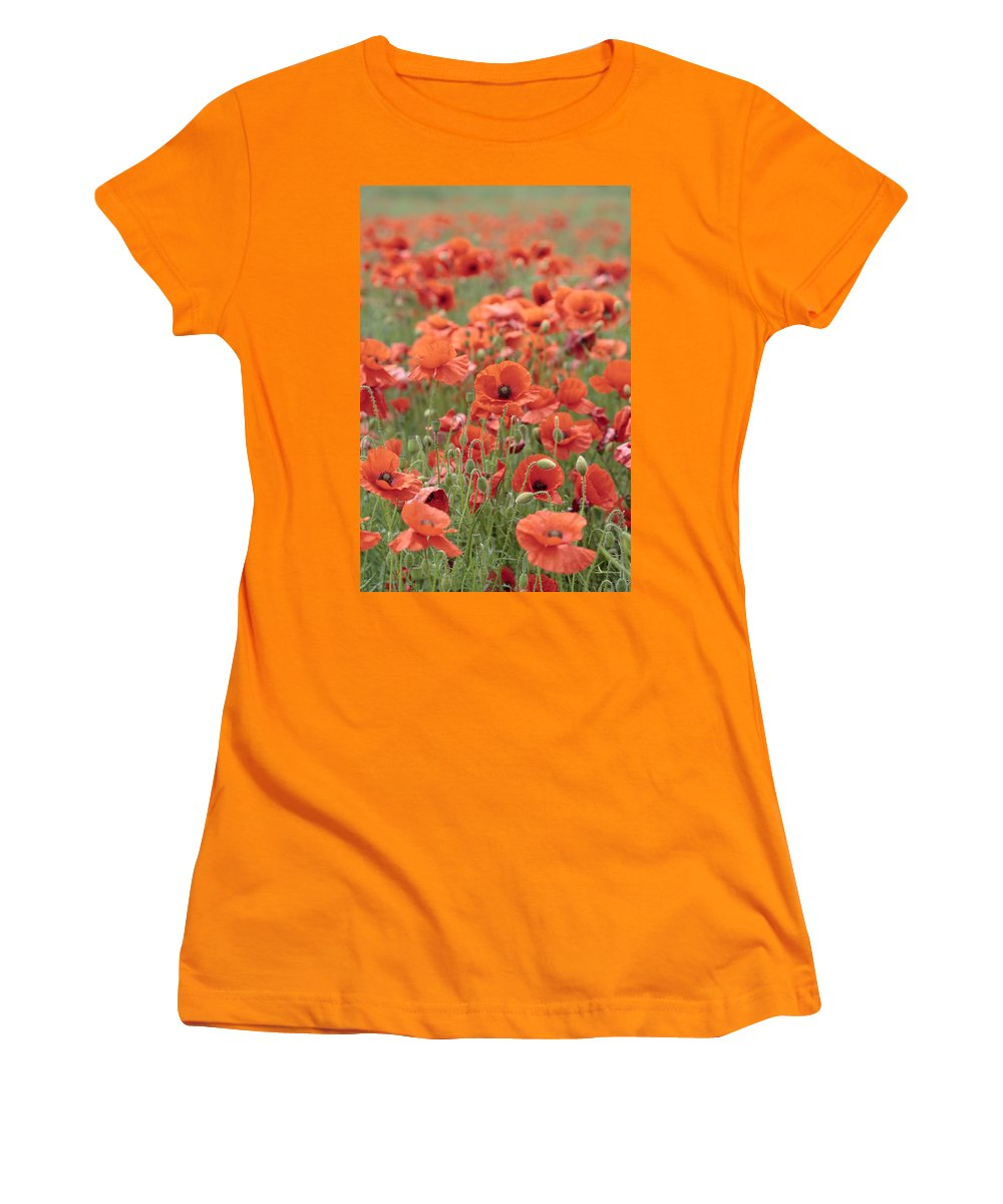 Poppy Women's T-Shirt (Athletic Fit) featuring the photograph Poppies by Phil Crean