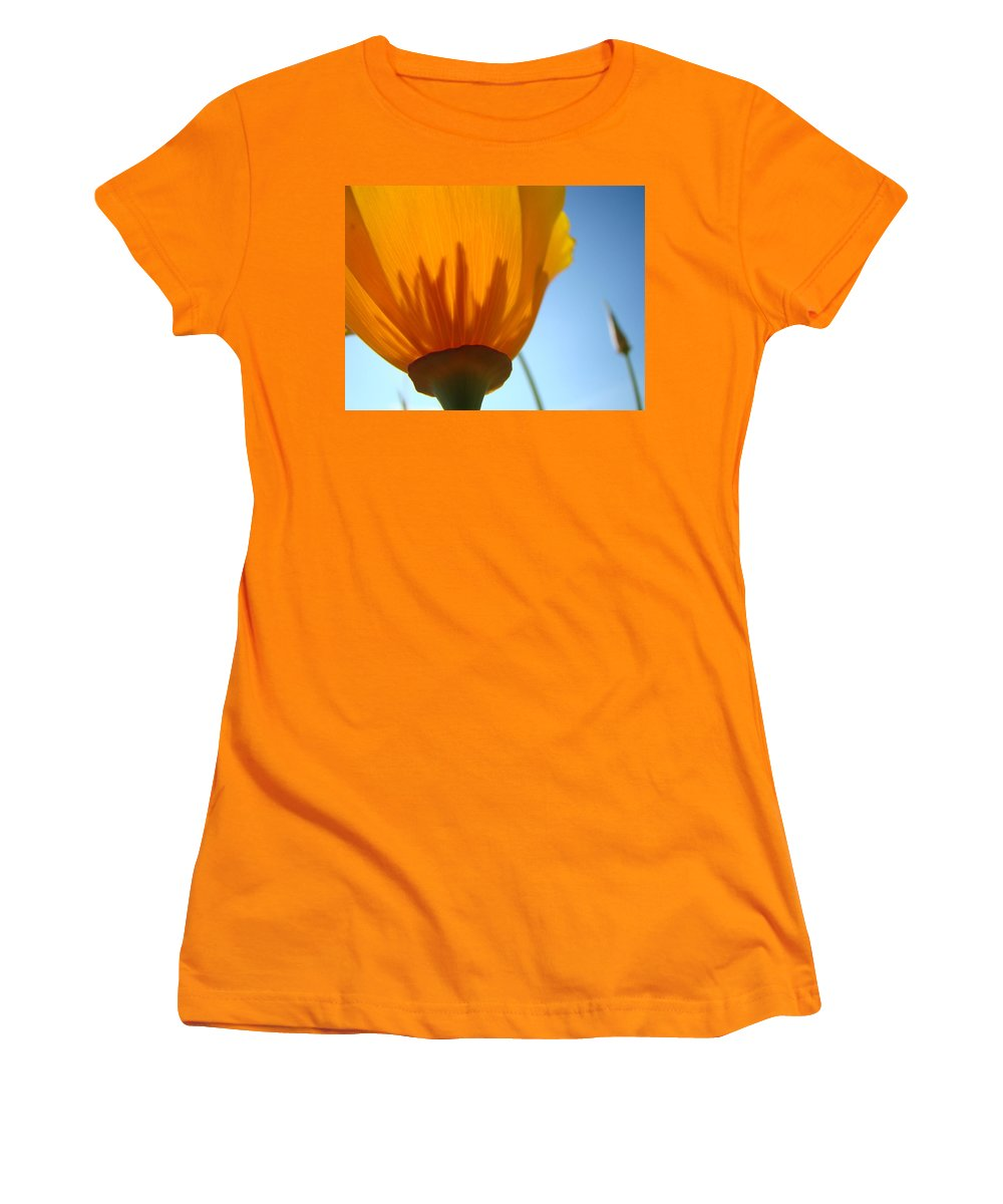 �poppies Artwork� Women's T-Shirt (Athletic Fit) featuring the photograph Poppies Sunlit Poppy Flower 1 Wildflower Art Prints by Baslee Troutman