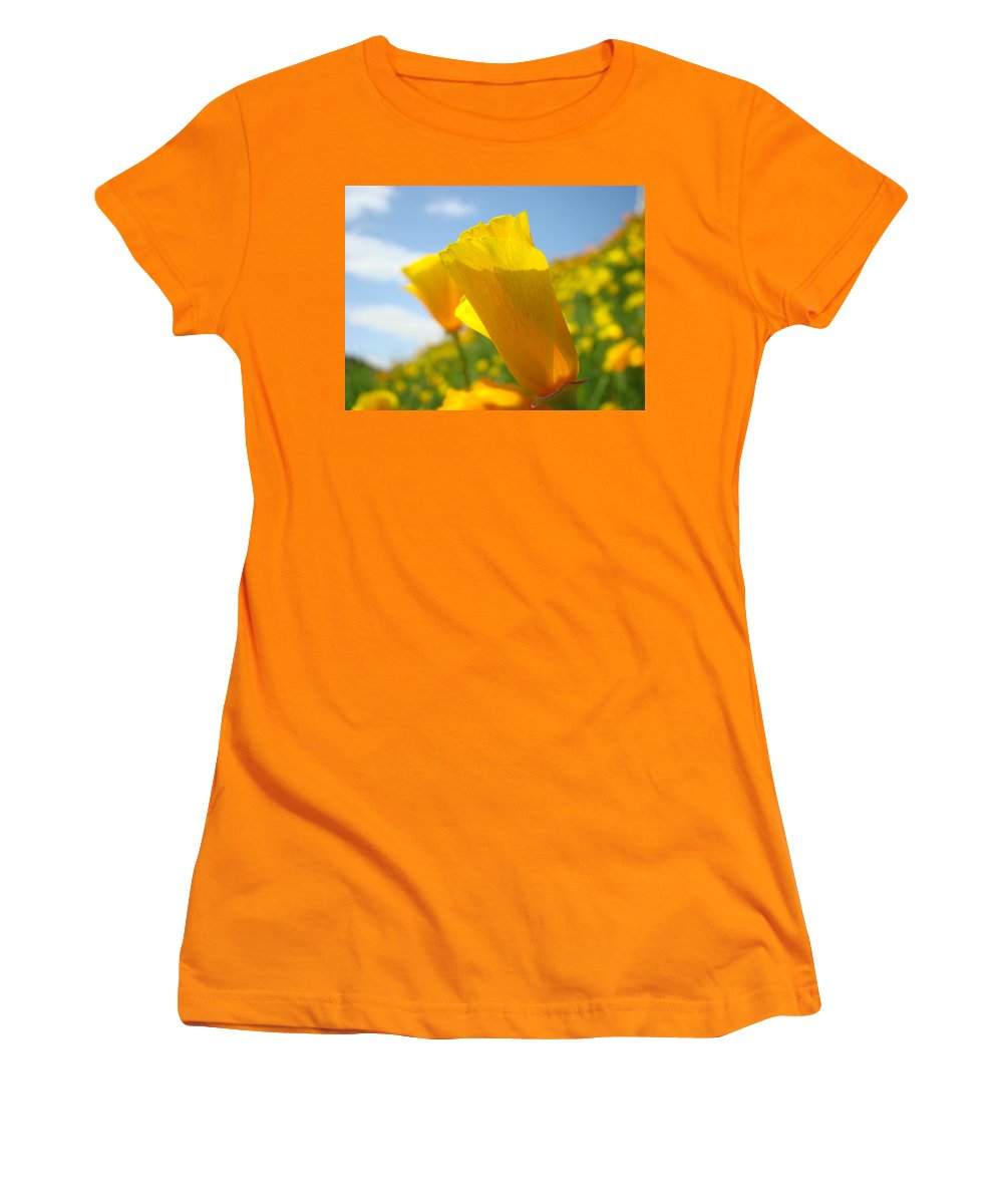 �poppies Artwork� Women's T-Shirt (Athletic Fit) featuring the photograph Poppy Flowers Meadow 3 Sunny Day Art Blue Sky Landscape by Baslee Troutman