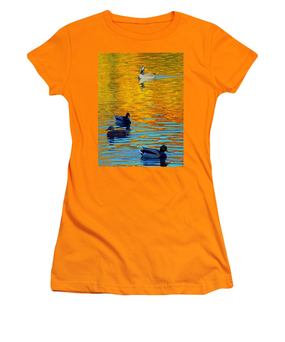 Ducks Malard Lake Gold Canada Geese Blue Women's T-Shirt (Athletic Fit) featuring the photograph Possibilities by Jack Diamond