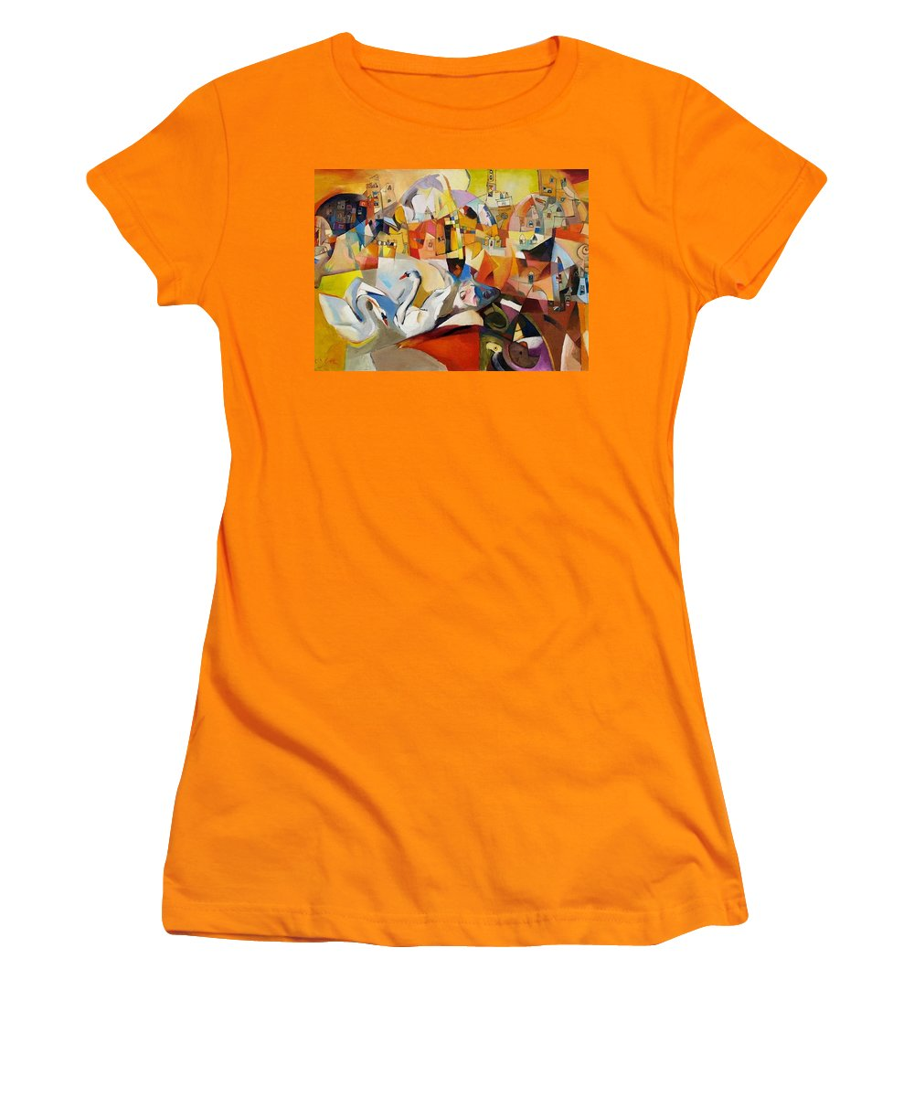 Landscape Women's T-Shirt (Athletic Fit) featuring the painting Primavera by Miljenko Bengez