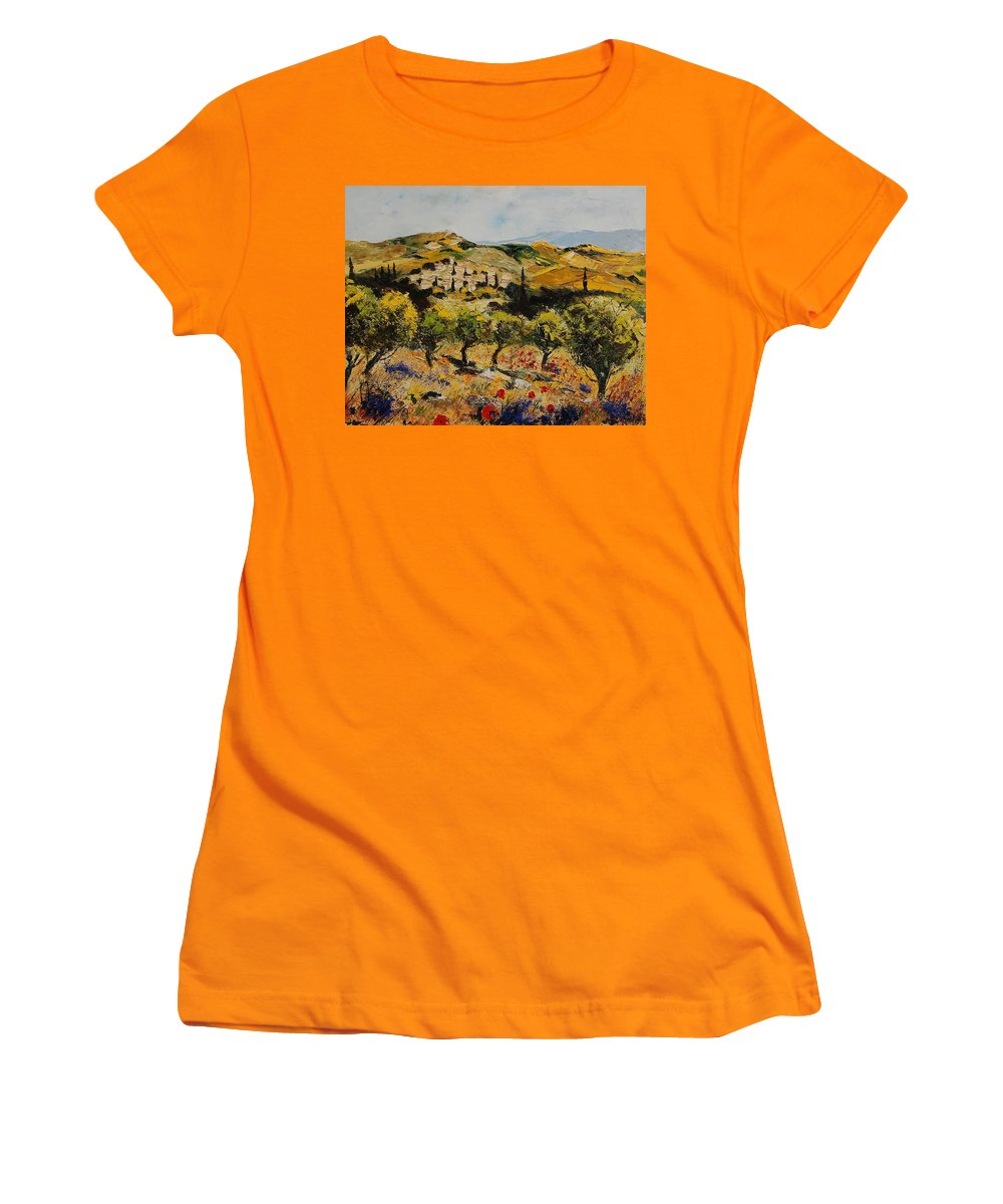 Provence Women's T-Shirt (Athletic Fit) featuring the painting Provence 10080 by Pol Ledent