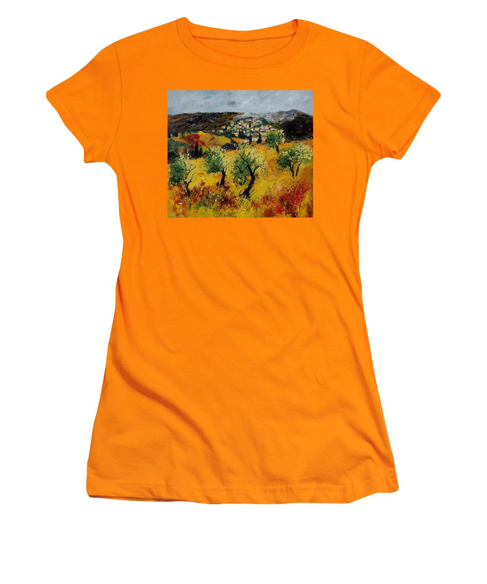 Provence Women's T-Shirt (Athletic Fit) featuring the painting Provence 789080 by Pol Ledent