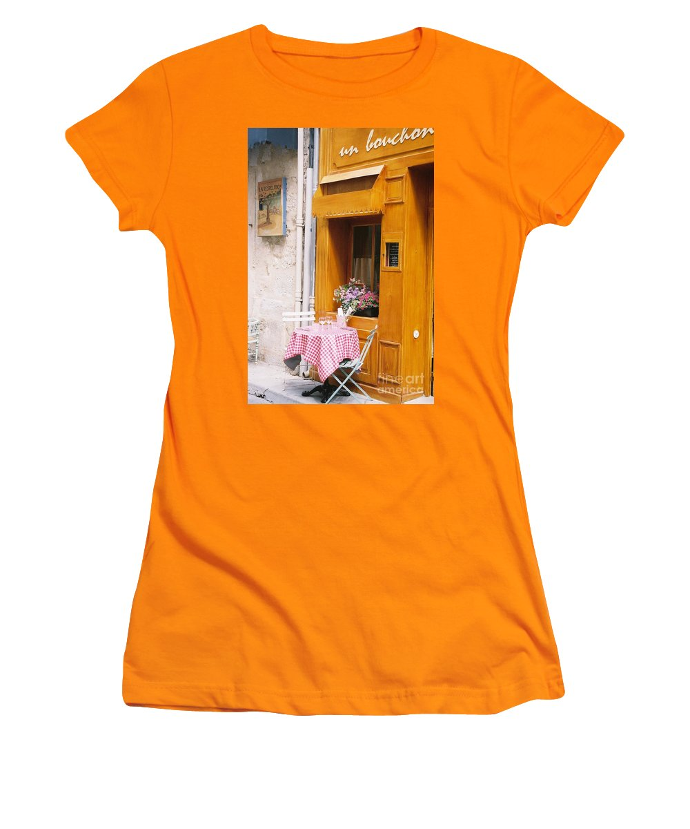 Cafe Women's T-Shirt (Athletic Fit) featuring the photograph Provence Cafe by Nadine Rippelmeyer