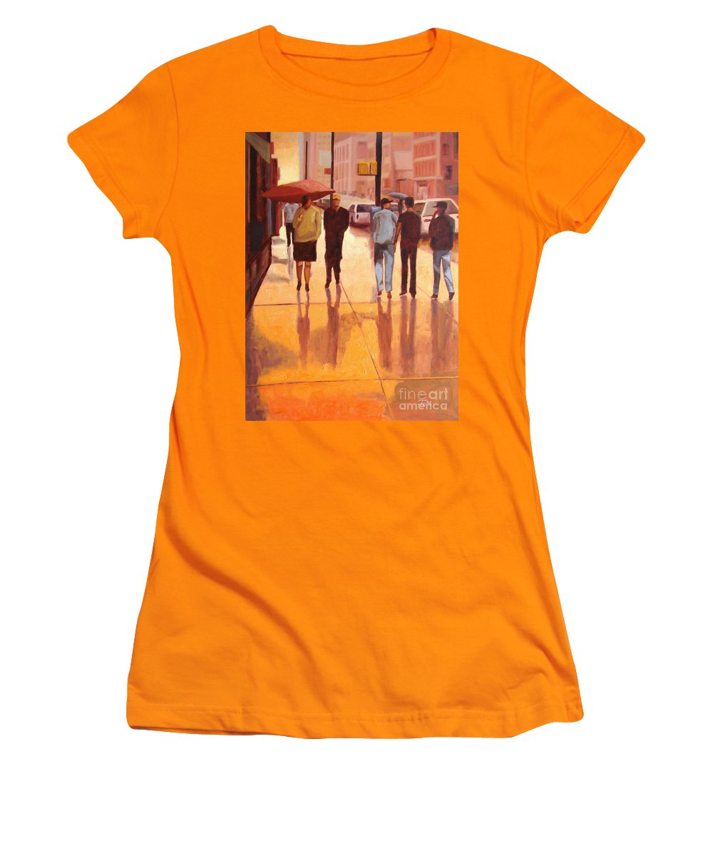 Manhattan Women's T-Shirt (Athletic Fit) featuring the painting Rain In Manhattan Number Eighteen by Tate Hamilton