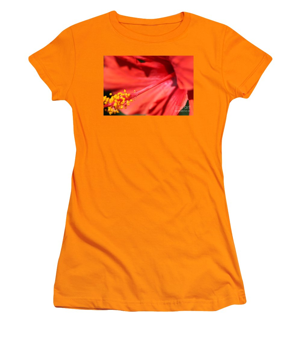 Red Women's T-Shirt (Athletic Fit) featuring the photograph Red Hibiscus by Nadine Rippelmeyer