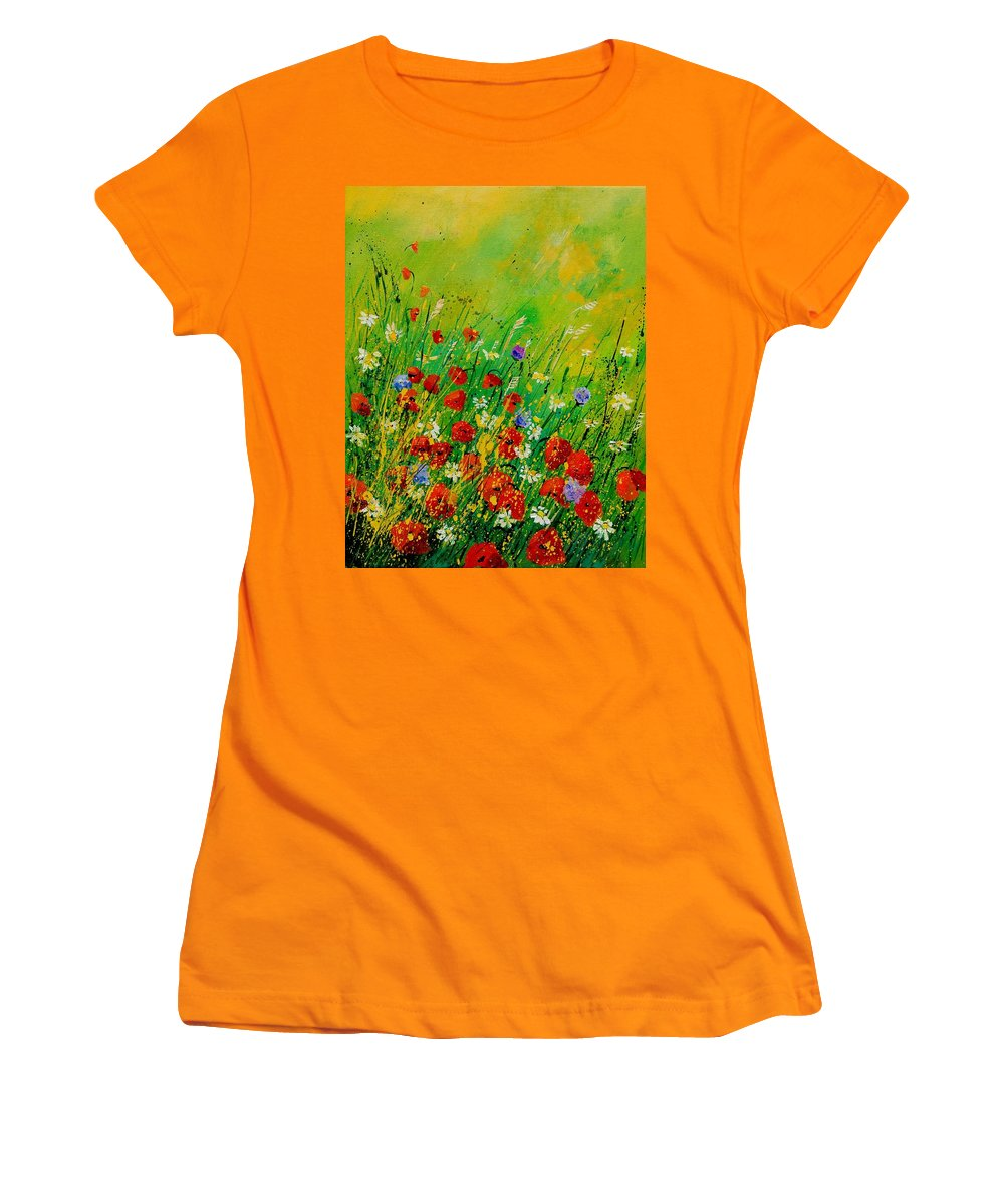 Flowers Women's T-Shirt (Athletic Fit) featuring the painting Red Poppies 450708 by Pol Ledent