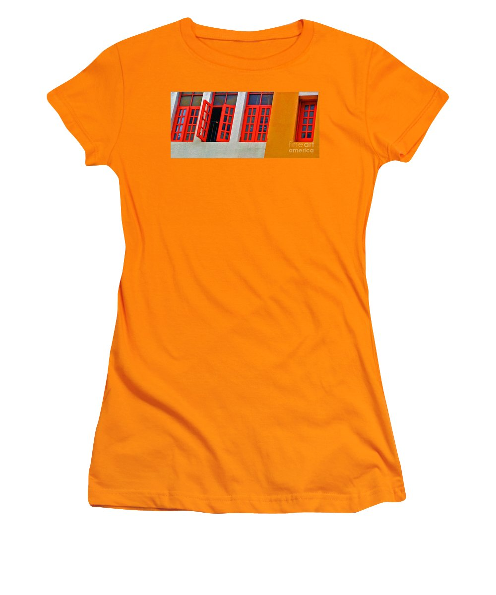 Windows Women's T-Shirt (Athletic Fit) featuring the photograph Red Windows by Debbi Granruth