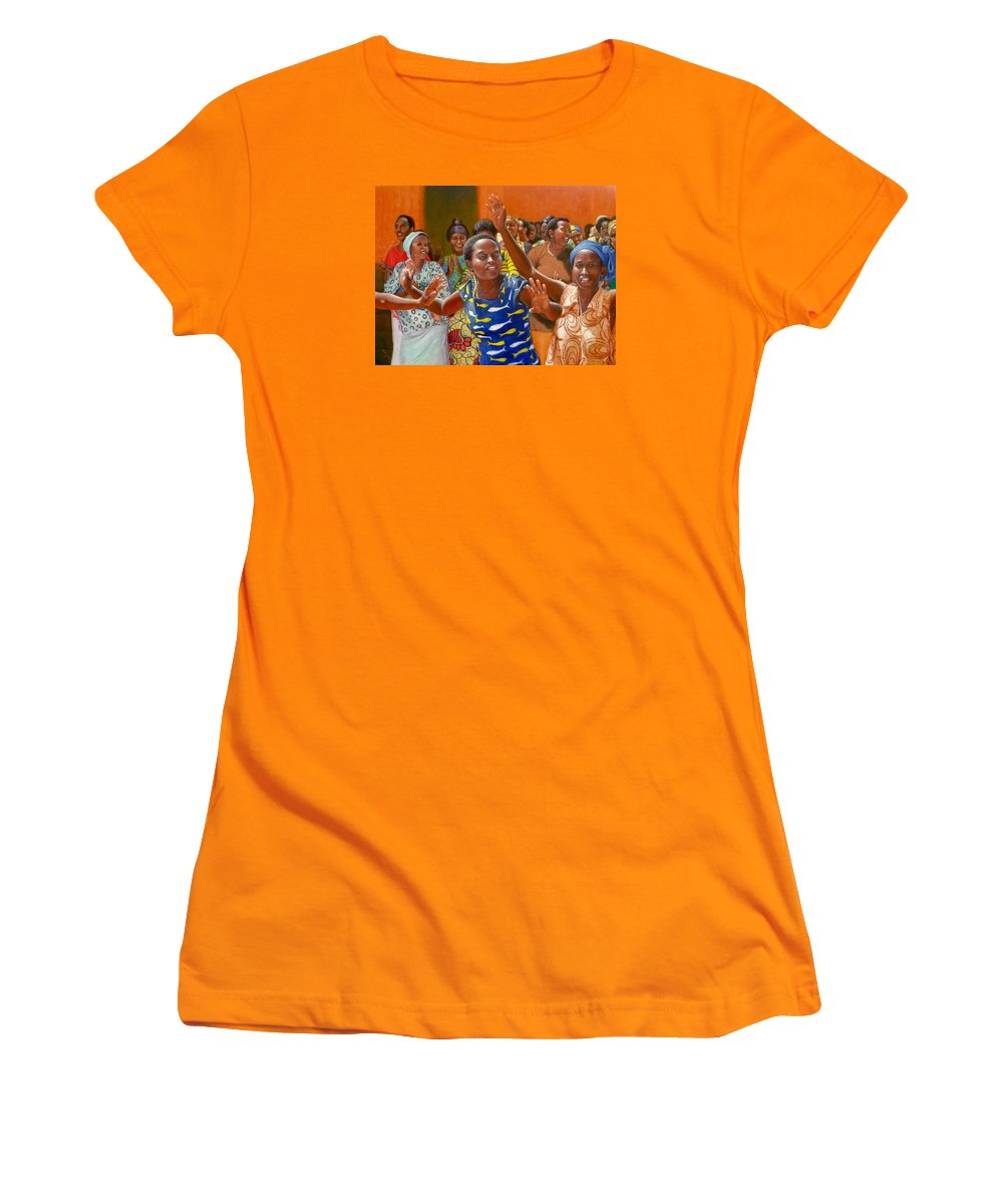 Realism Women's T-Shirt (Athletic Fit) featuring the painting Rejoice by Donelli DiMaria