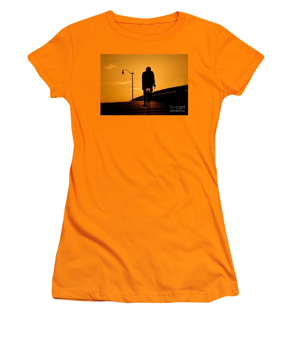 Bicycle Women's T-Shirt (Athletic Fit) featuring the photograph Riding At Sunset by David Lee Thompson