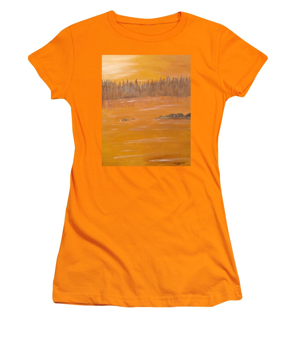 Northern Ontario Women's T-Shirt (Athletic Fit) featuring the painting Rock Lake Morning 2 by Ian MacDonald