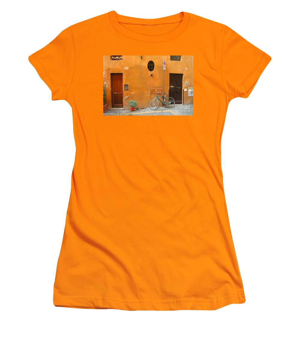Rome Women's T-Shirt (Athletic Fit) featuring the photograph Roman Doors by Thomas Marchessault