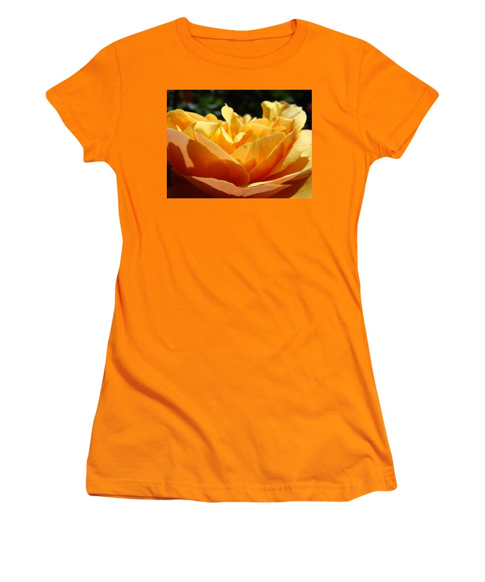 Rose Women's T-Shirt (Athletic Fit) featuring the photograph Rose Sunlit Orange Rose Garden 7 Rose Giclee Art Prints Baslee Troutman by Baslee Troutman
