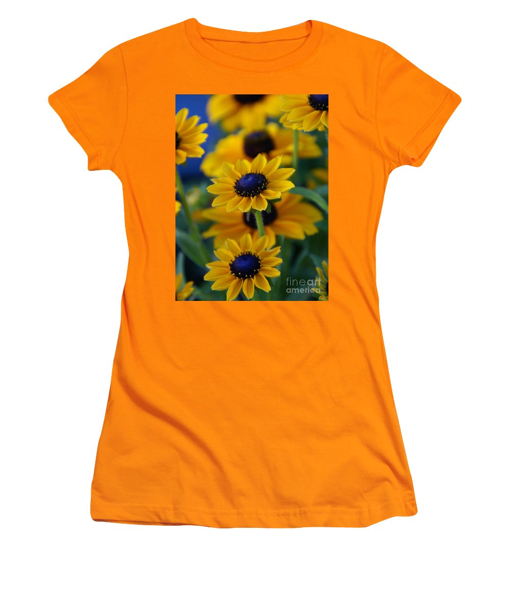 Yellow Women's T-Shirt (Athletic Fit) featuring the photograph Royal Blue by Linda Shafer