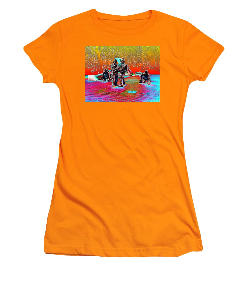 Seattle Women's T-Shirt (Athletic Fit) featuring the digital art Seattle Fire Fighter Memorial by Tim Allen