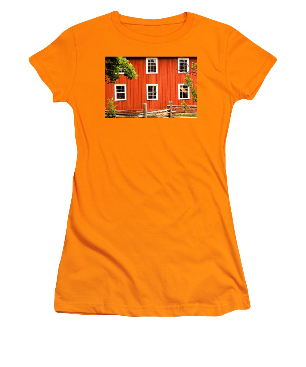 Red Wall Women's T-Shirt (Athletic Fit) featuring the photograph Six Windows by Ian MacDonald