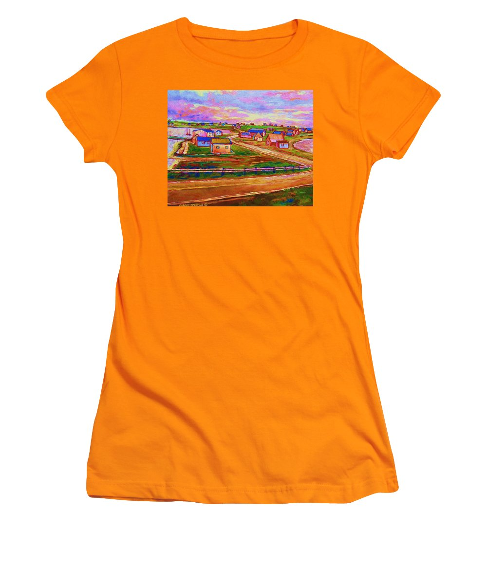 Sunrise Women's T-Shirt (Athletic Fit) featuring the painting Sleepy Little Village by Carole Spandau