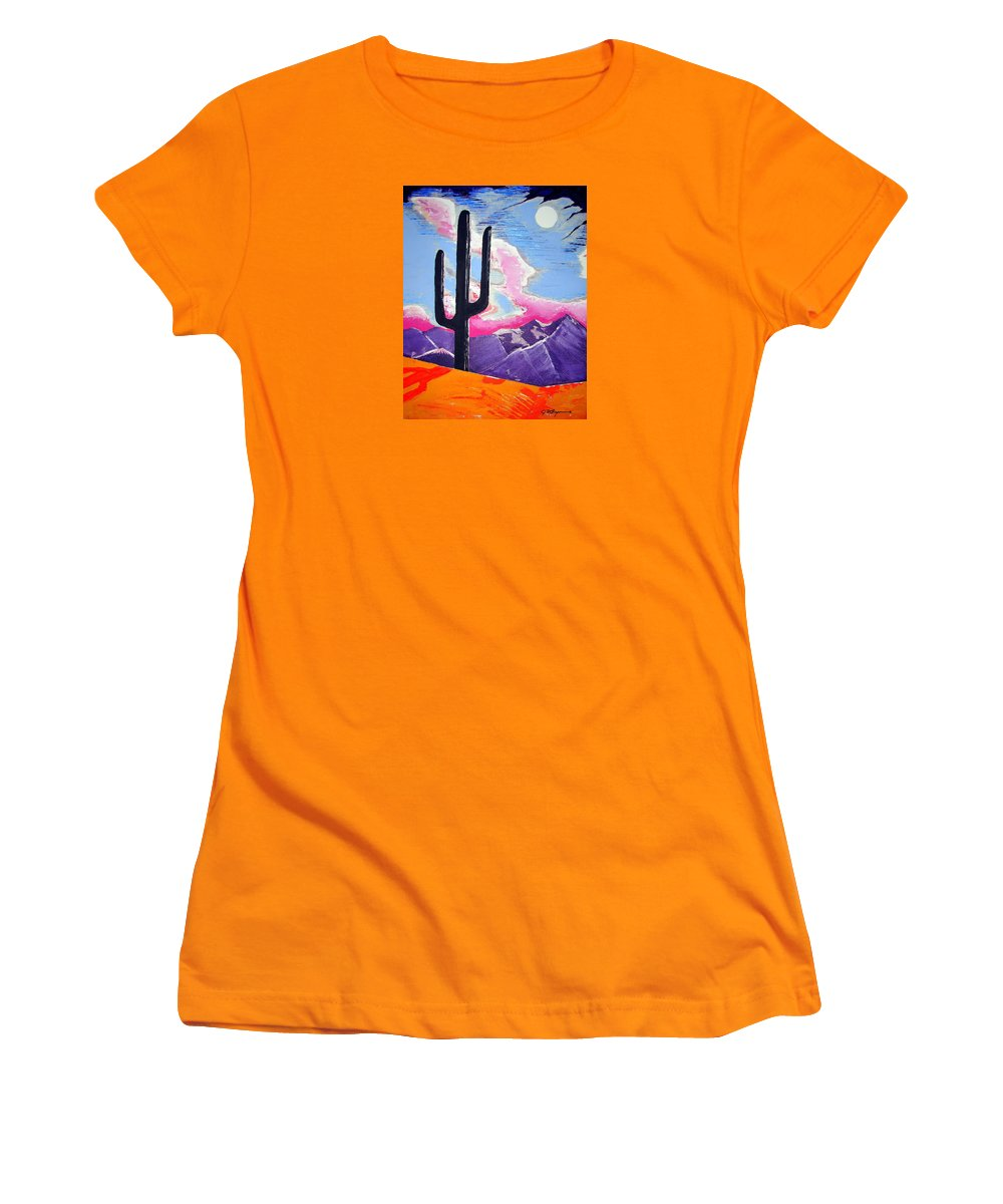 Cactus Women's T-Shirt (Athletic Fit) featuring the painting Southwest Skies 2 by J R Seymour