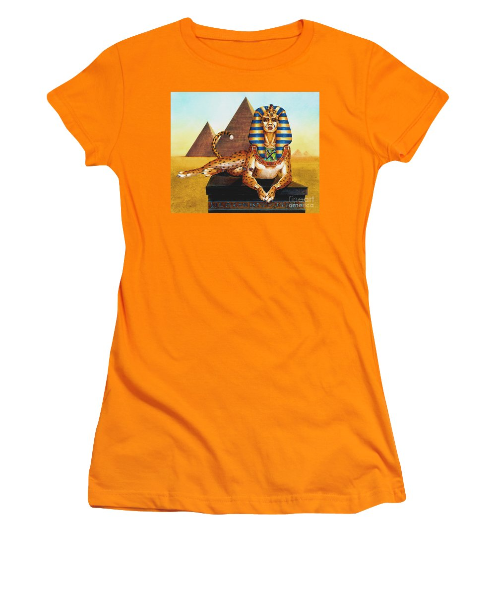 Cat Women's T-Shirt (Athletic Fit) featuring the painting Sphinx On Plinth by Melissa A Benson