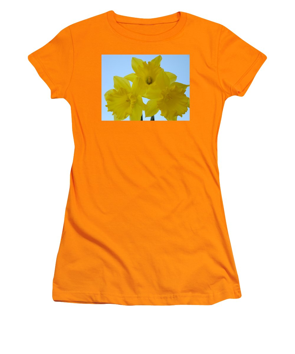 �daffodils Artwork� Women's T-Shirt (Athletic Fit) featuring the photograph Spring Daffodils 2 Flowers Art Prints Gifts Blue Sky by Baslee Troutman