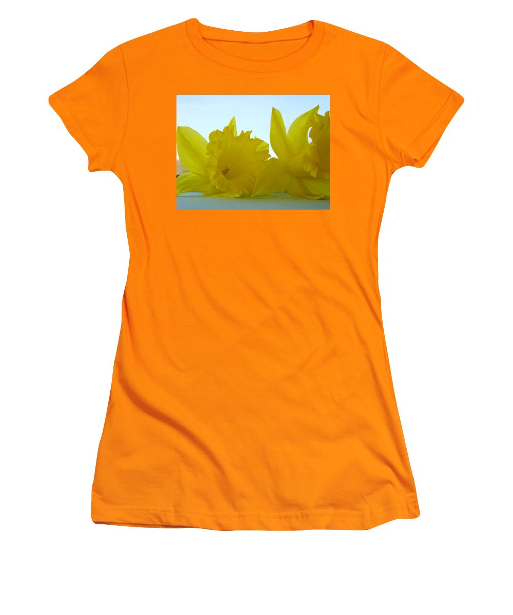 �daffodils Artwork� Women's T-Shirt (Athletic Fit) featuring the photograph Spring Daffodils Flowers Art Prints Blue Skies by Baslee Troutman