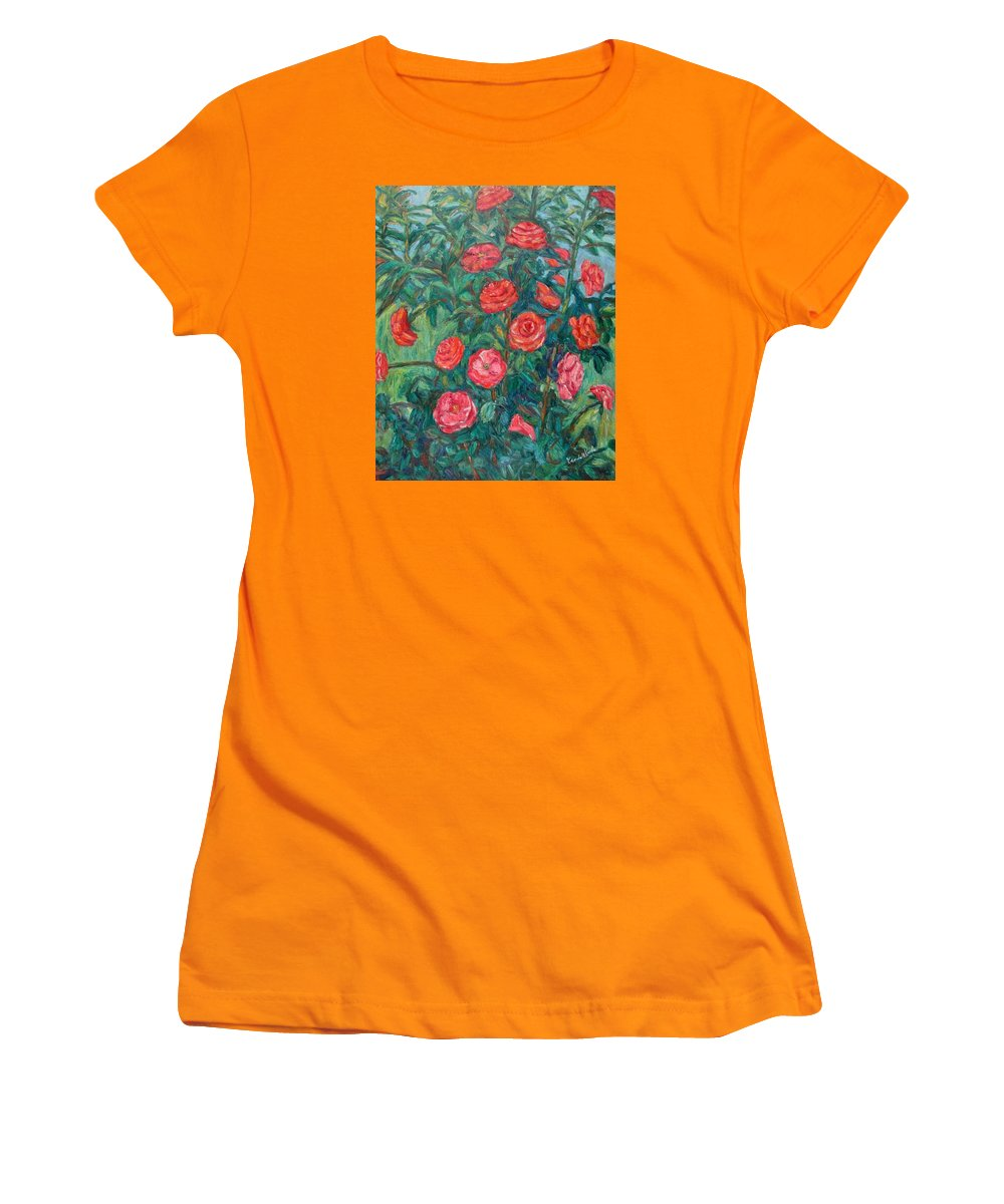 Rose Women's T-Shirt (Athletic Fit) featuring the painting Spring Roses by Kendall Kessler