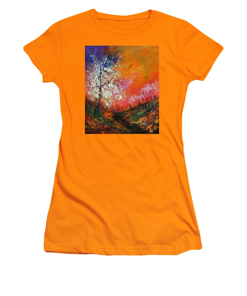 Spring Women's T-Shirt (Athletic Fit) featuring the painting Spring Today by Pol Ledent