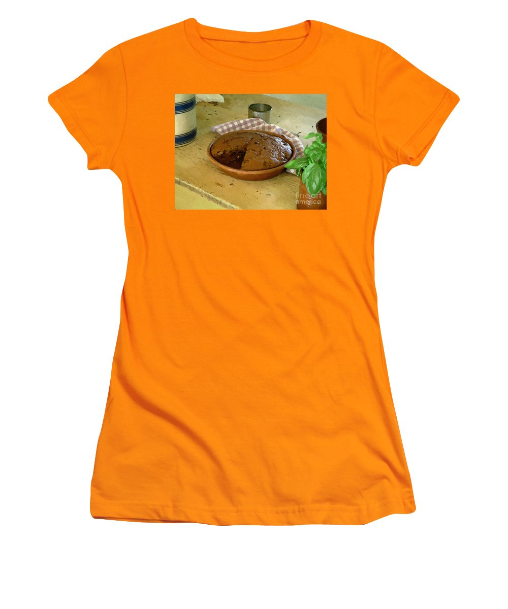 Gingerbread Women's T-Shirt (Athletic Fit) featuring the painting Still Life With Gingerbread by RC DeWinter