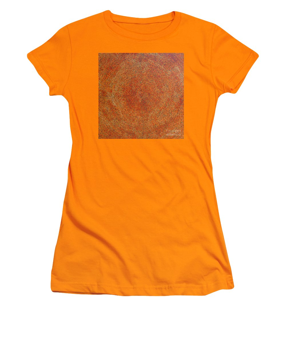 Abstract Women's T-Shirt (Athletic Fit) featuring the painting Su Gaia Earth by Dean Triolo
