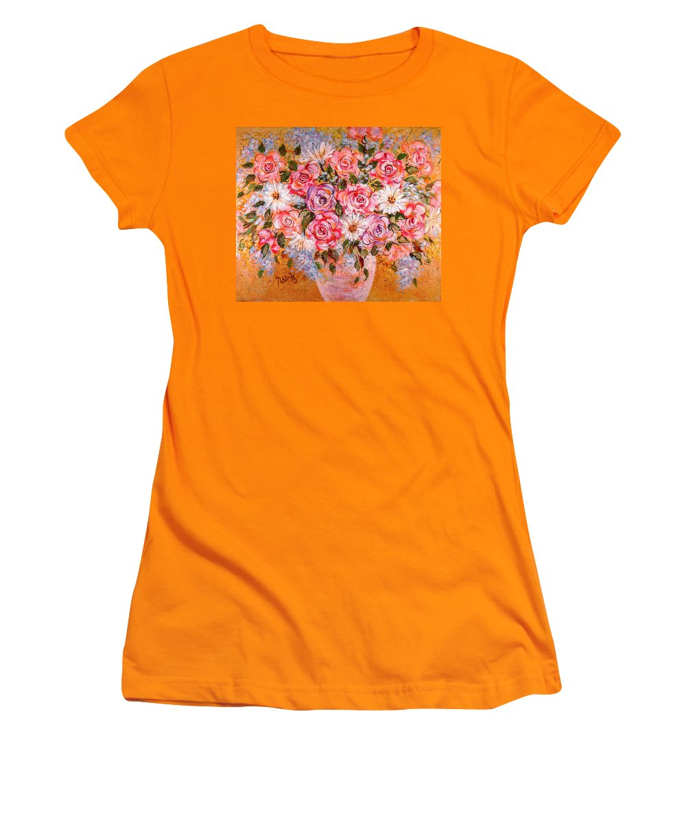 Flowers Women's T-Shirt (Athletic Fit) featuring the painting Summer Bouquet by Natalie Holland