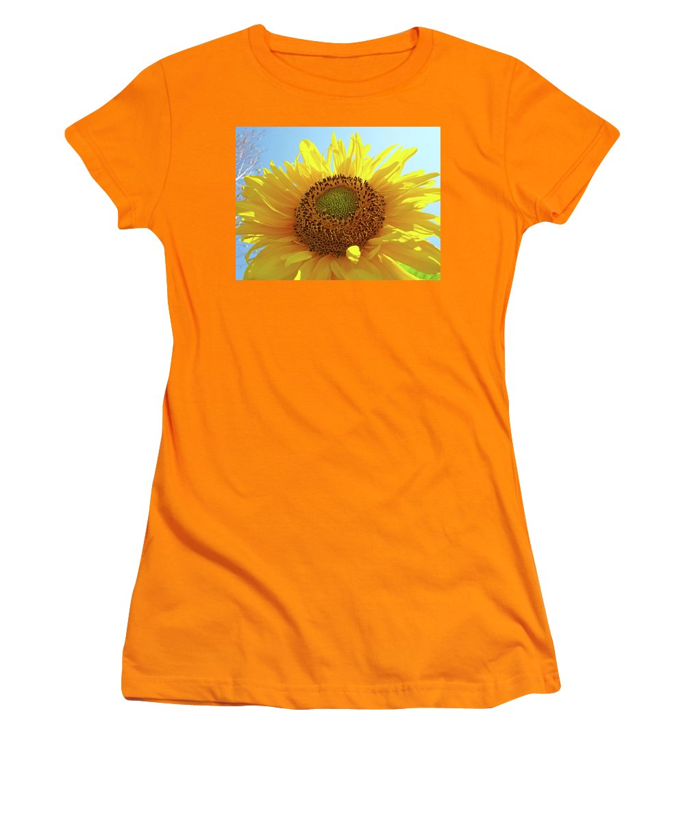 Sunflower Women's T-Shirt (Athletic Fit) featuring the photograph Sun Flowers Art Sunflower Giclee Prints Baslee Troutman by Baslee Troutman