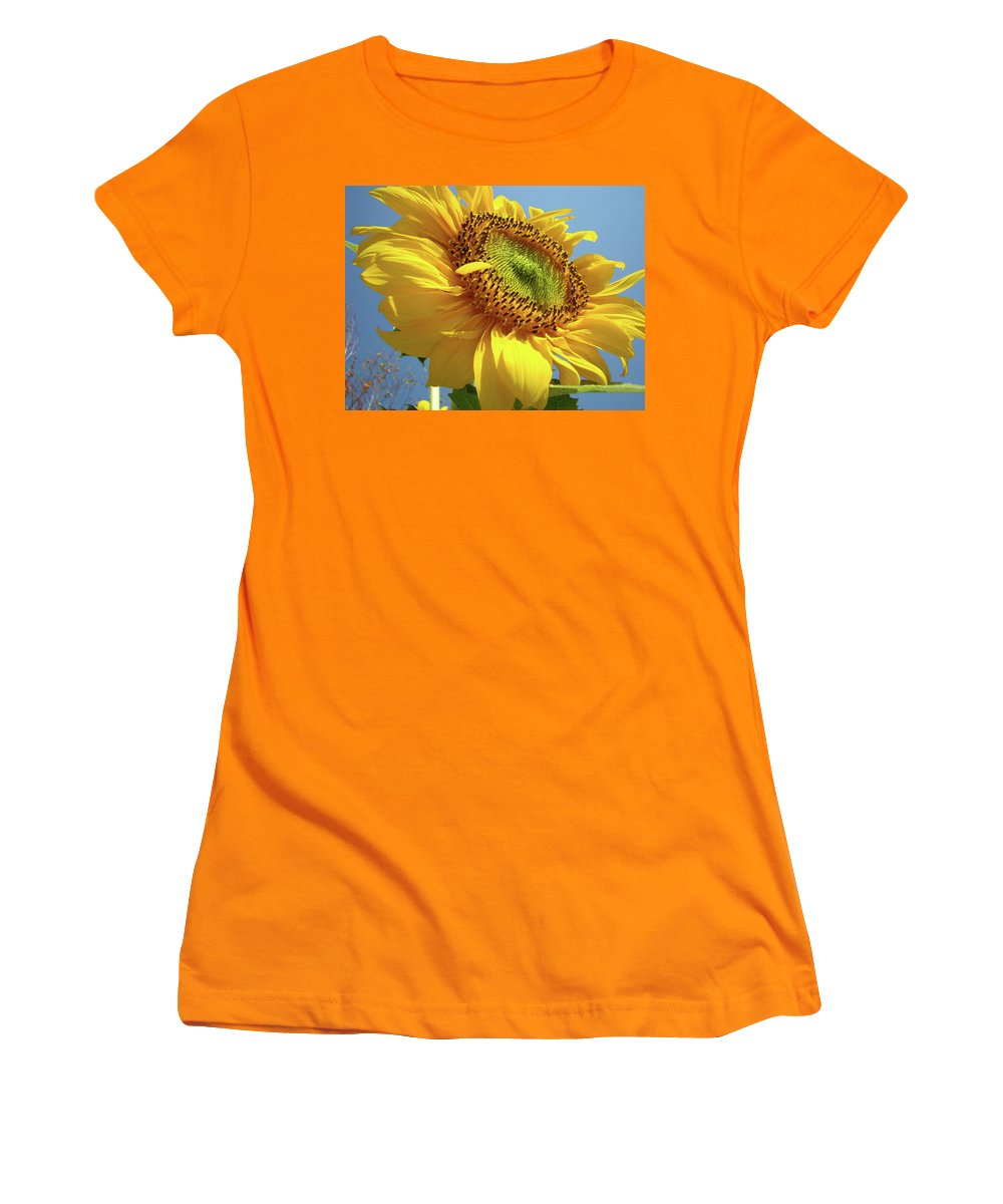Sunflower Women's T-Shirt (Athletic Fit) featuring the photograph Sunflower Sunlit Sun Flowers 6 Blue Sky Giclee Art Prints Baslee Troutman by Baslee Troutman